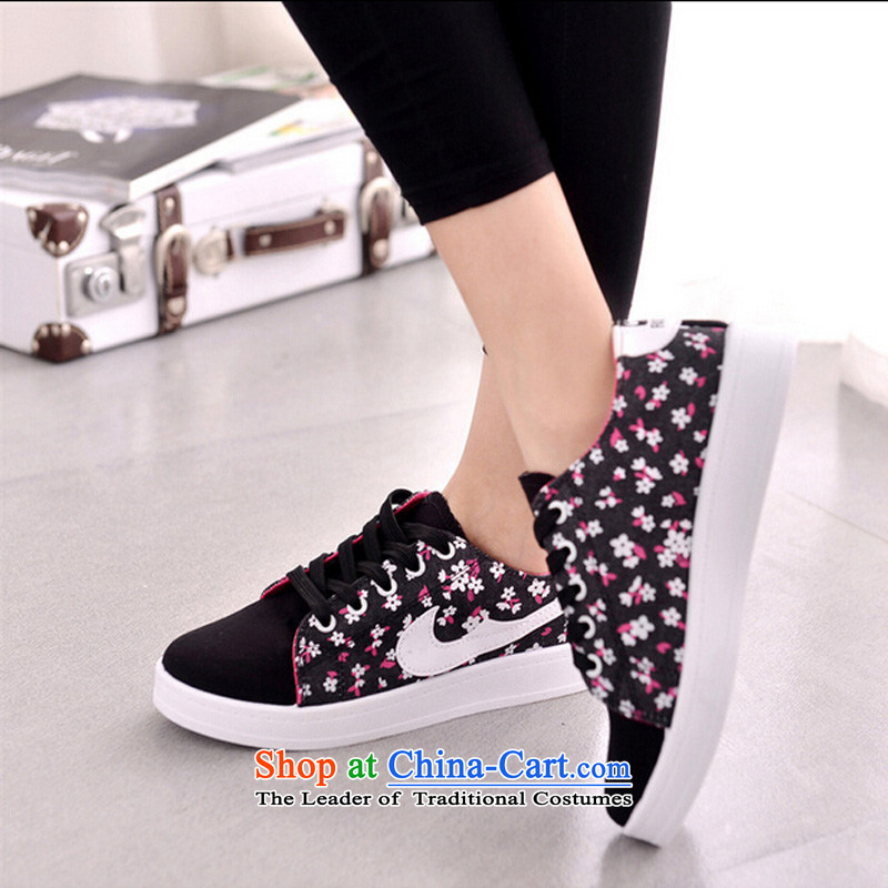 【 C.O.D.- Spring and Autumn 2015 new trend of genuine stylish counters the rubber strap Korean cross-woman shoes, spell-color printing series round head female mesh upper black39