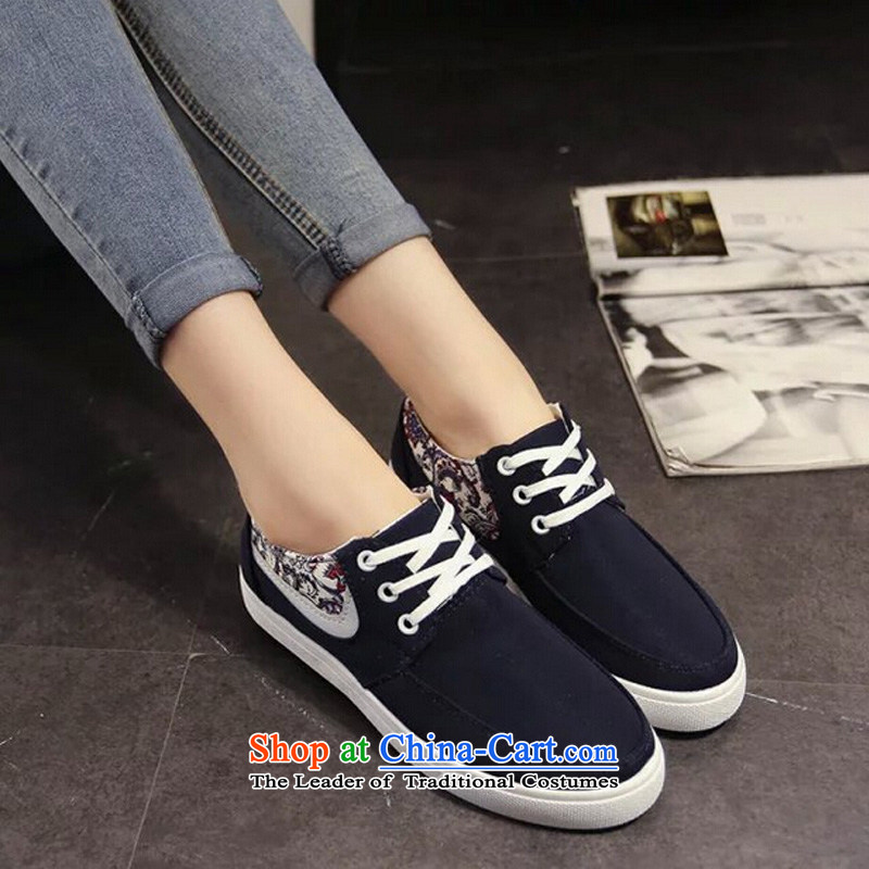 【 C.O.D.- Spring and Autumn 2015 new trend of genuine stylish girl mesh upper rubber leisure spell color round head lady's shoe retro graphics thin low wild sports shoes Dark Blue39