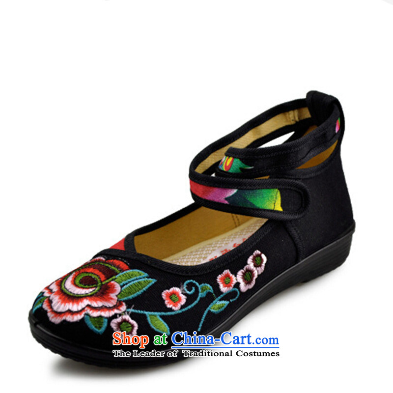 In the summer and autumn national retro-mesh upper embroidered shoes Plaza Dance Shoe flat with soft bottoms womens single shoe black35