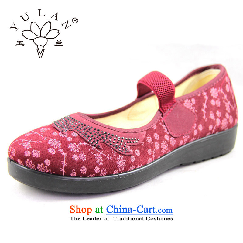 Magnolia Old Beijing mesh upper spring and autumn new round head embroidered with soft, non-slip wear leisure. mother shoe 2312-1221 older Red 41