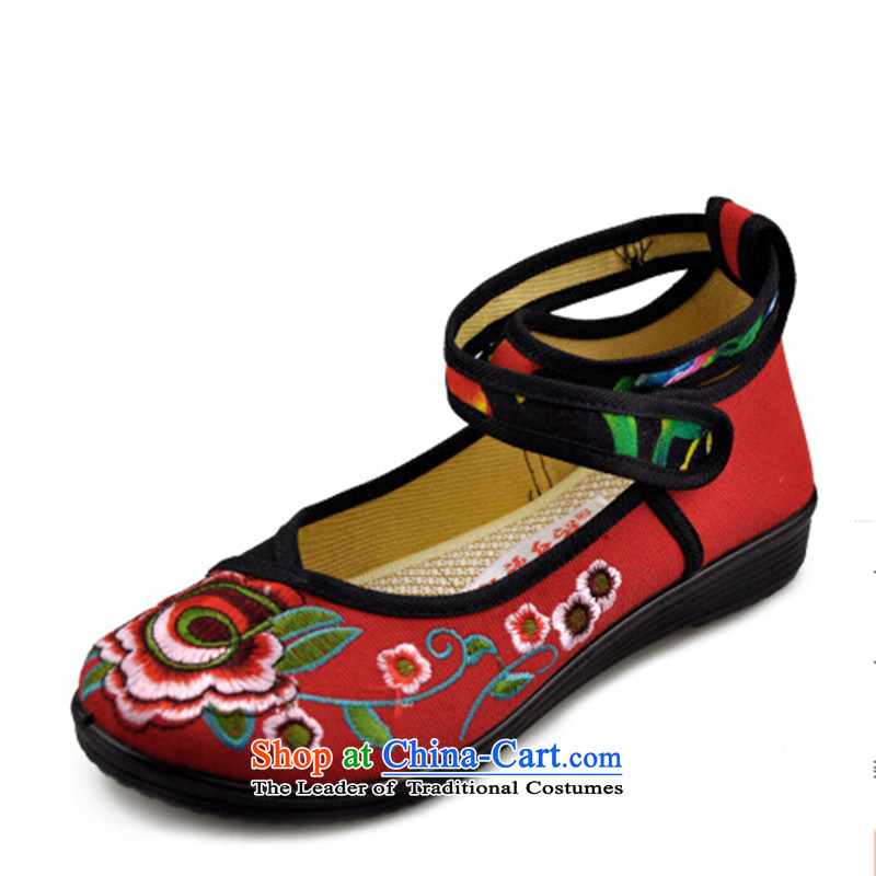 In the summer and autumn national retro-mesh upper embroidered shoes Plaza Dance Shoe flat with soft bottoms womens single shoe Red39