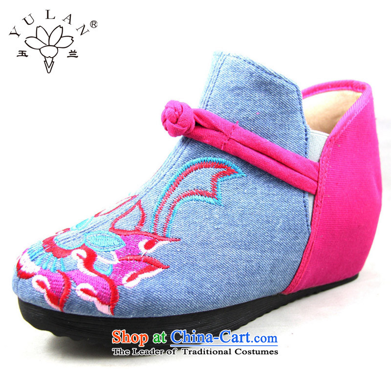 Magnolia Old Beijing women shoes autumn, mesh upper latch kit with increased within the foot of the retro-day Leisure shoes embroidered shoes 2616-289 mother Blue 40