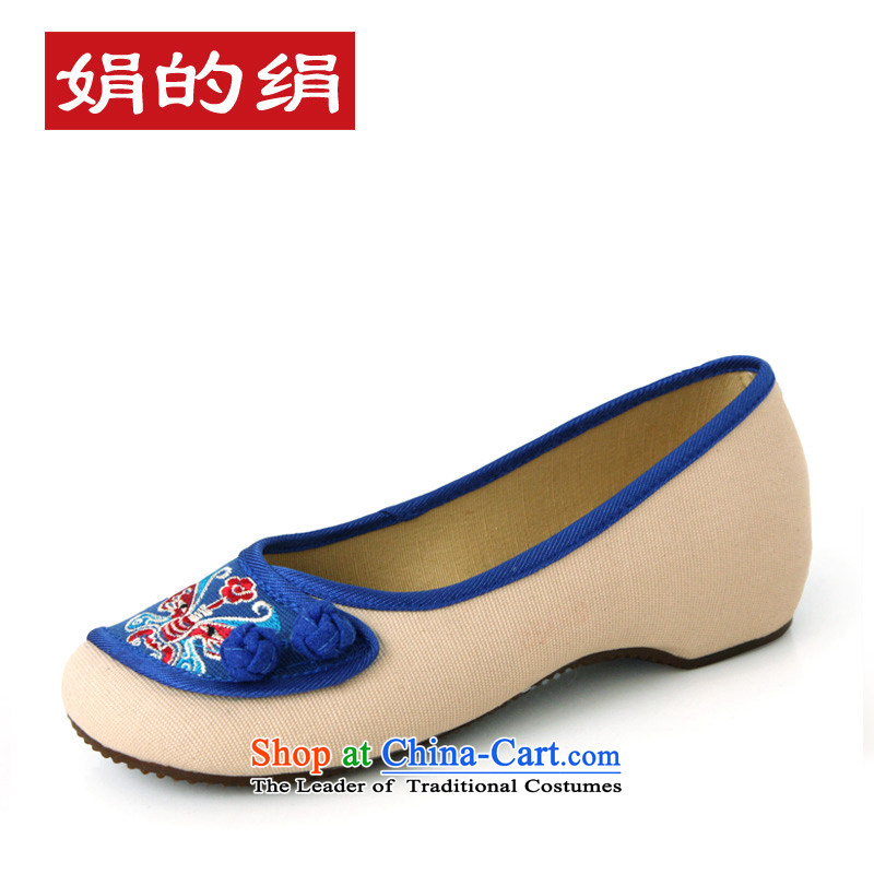 The silk autumn old Beijing mesh upper ethnic embroidered shoes increased with women within single shoe slope A412-72 Blue 39