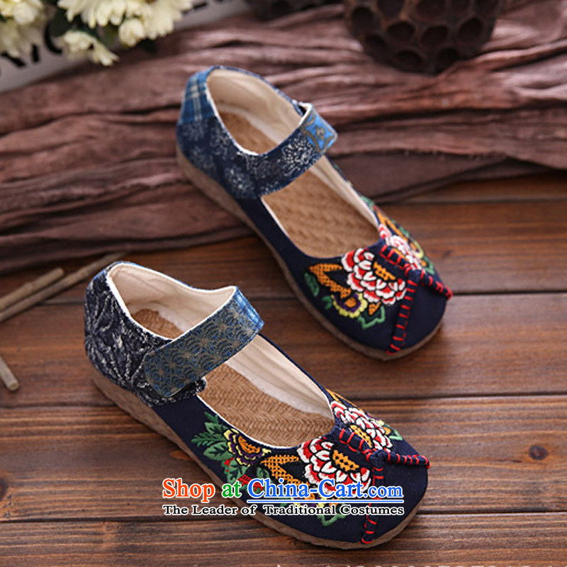 Beef tendon soft bottoms embroidered shoes during the spring and autumn of ethnic embroidery leisure shoes round head sum female broadband thick stylish irregular pattern of Old Beijing mesh upper women shoes Blue36