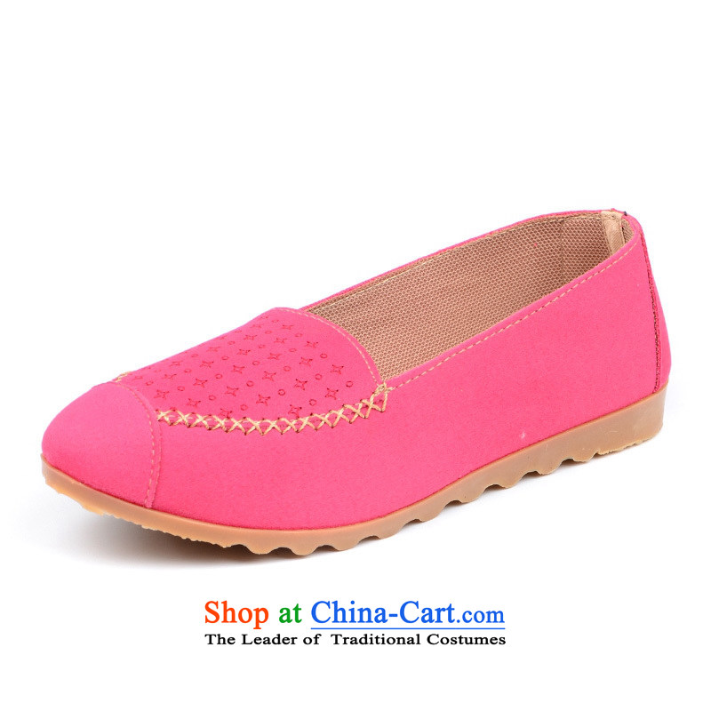 Beijing Morning Old Beijing mesh upper genuine 2015 fall flat bottom shoe breathable light with soft bottoms with casual women single shoe woman driver click the bottom soft shoes shoes lazy people shoe pin Red38