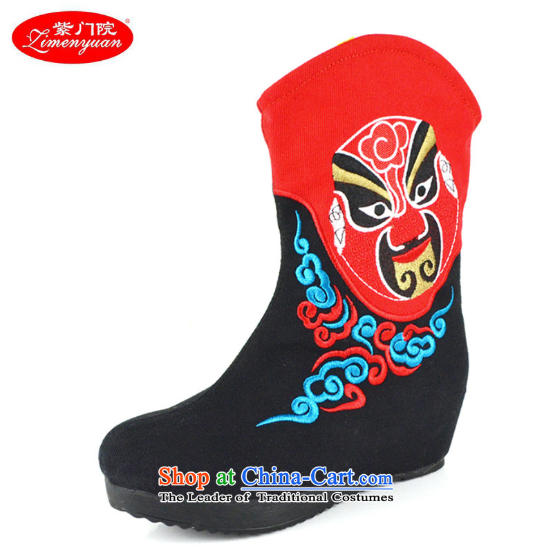 The first door of Old Beijing mesh upper ladies boot fashion, and boots the autumn and winter, embroidered boots ethnic masks embroidery women shoes increased female in the boots of the Black 37