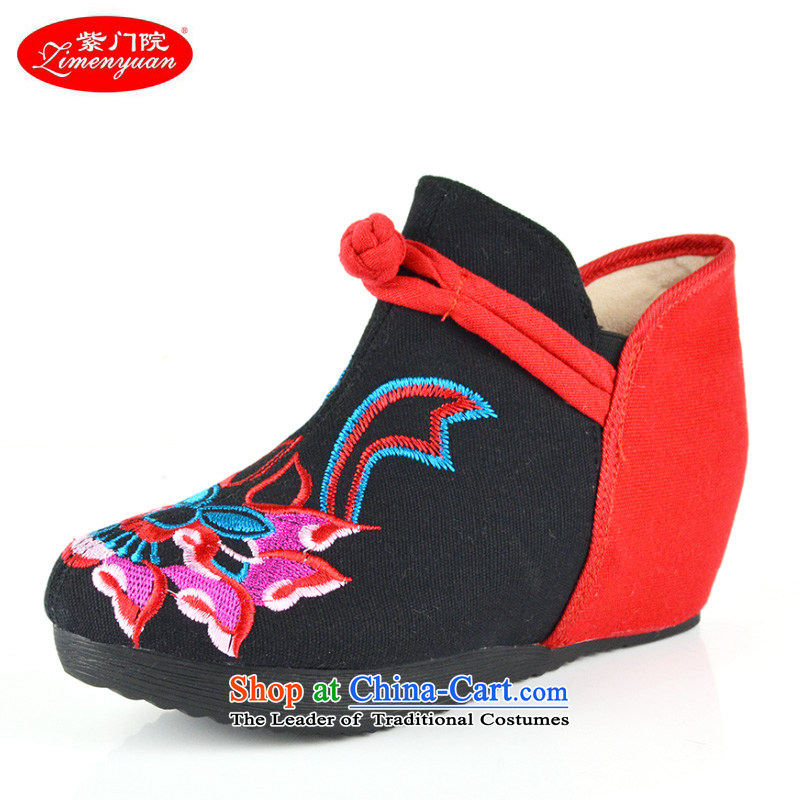 The first door of Old Beijing mesh upper stylish embroidered shoes embroidered boots autumn and winter, female boots the lint-free warm up ladies boot nation of wind women shoes black聽37