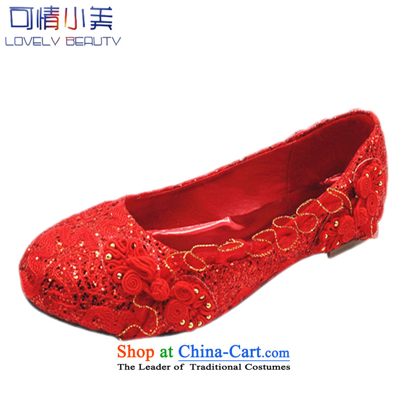 Is small and the single shoe flat bottom mesh upper girl shoe points with soft, comfortable shoes CXY01 marriage CXY04 Red 39
