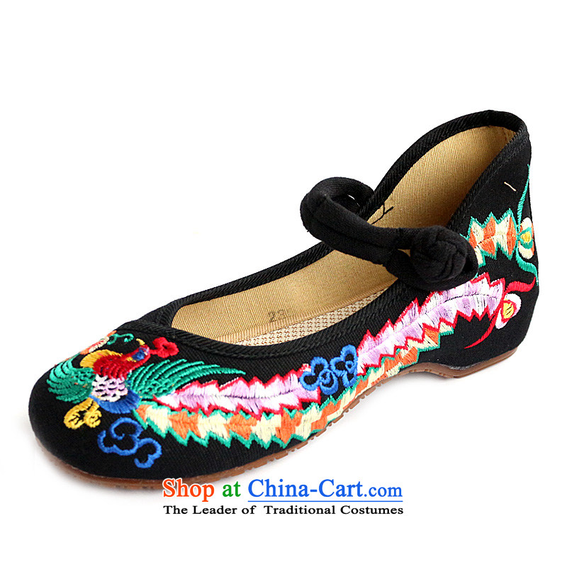 100 birds Bong-2015 new retro ethnic embroidered shoes increased within the old Beijing mesh upper with single women shoes A412-142 black 41