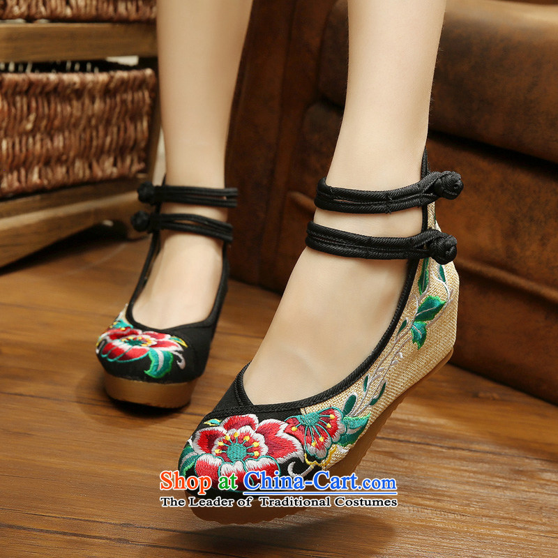15 New Old Beijing mesh upper female embroidered shoes slope heels beef tendon anti-slip-buckle the the high-heel shoes of ethnic embroidery hibiscus flower linen upper round head lady's shoe black38