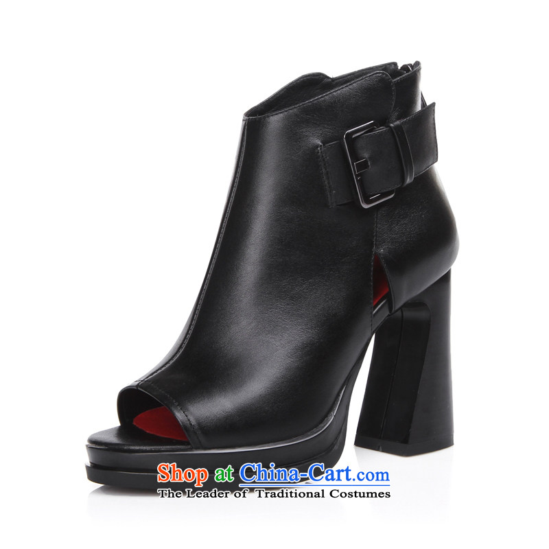 The spring of the new water-resistant desktop fish tip the the high-heel shoes with belt hook after coarse zipper deep shoes soft solid color leisure shoes black聽39