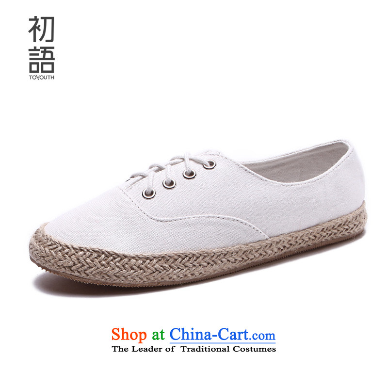 The early autumn 2015, Arabic new canvas shoes College wind white shoes with a flat bottom fisherman shoes shoe female white sisal twine 39