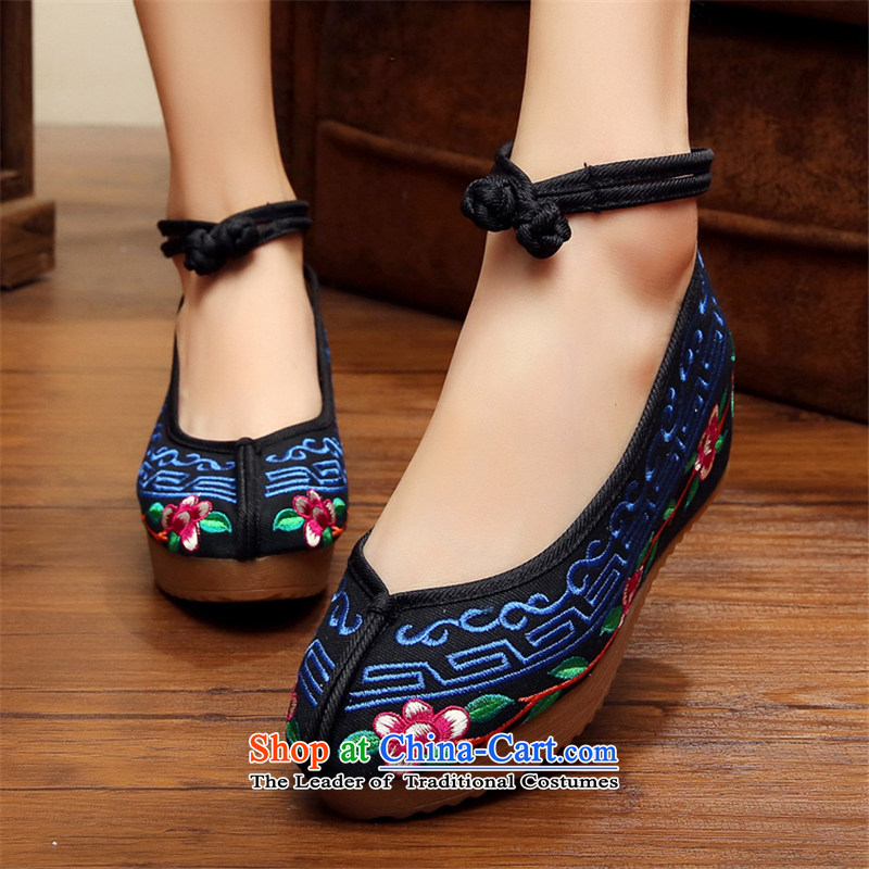 Step-by-step approach of Old Beijing 2015 mesh upper spring and autumn_ Slope women shoes with ethnic embroidered shoes increased within the Thick mesh upper mother's shoes black 36