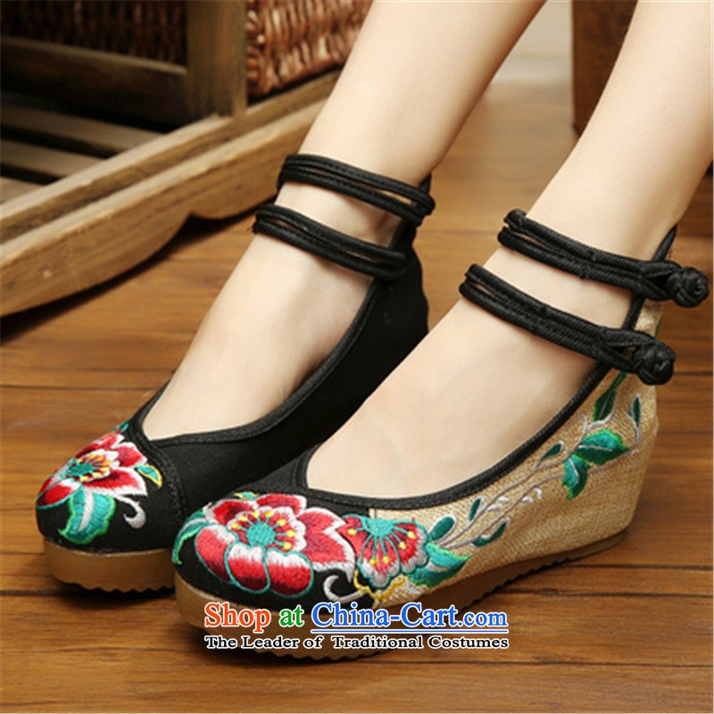 Step-by-step approach ofspring and autumn 2015 new old Beijing mesh upper with slope women shoes embroidered shoes of ethnic women with higher within the slope mesh upper womens single shoe black hibiscus flowers