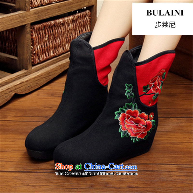 Step-by-step approach of2015 autumn and winter old Beijing female cloth shoes of ethnic plus lint-free bootie slope behind with the increase in thick boots embroidery and female cotton shoe black38