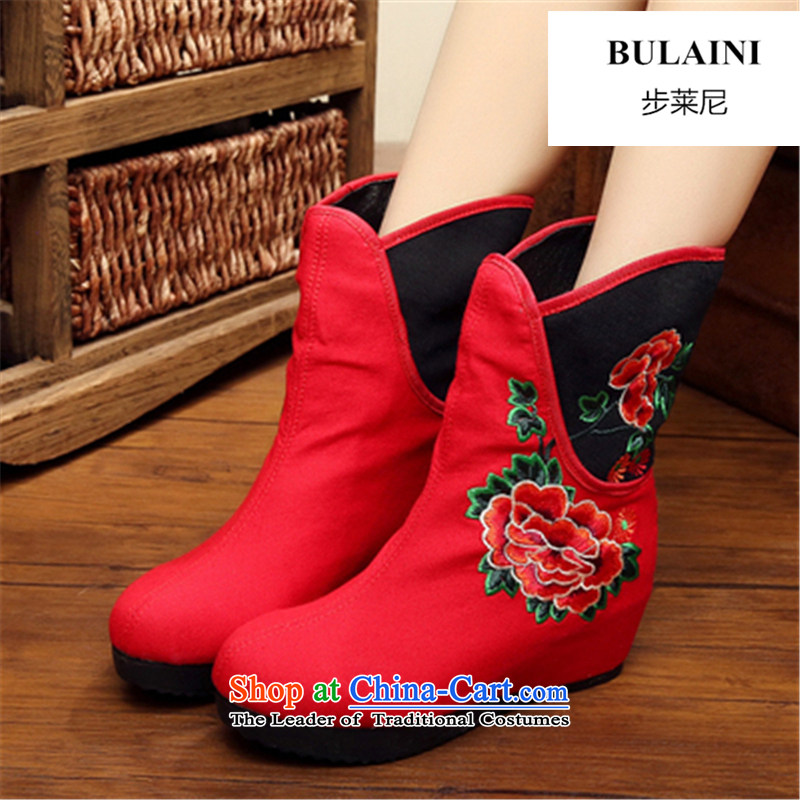 Step-by-step approach of 2015 autumn and winter old Beijing female cloth shoes of ethnic plus lint-free bootie slope behind with the increase in thick boots embroidery and female cotton seed boot Red 34
