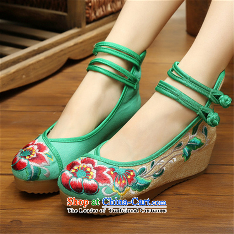 Step-by-step approach ofspring and autumn 2015 new old Beijing mesh upper with slope women shoes embroidered shoes of ethnic women with higher within the slope mesh upper womens single shoe green hibiscus flower39