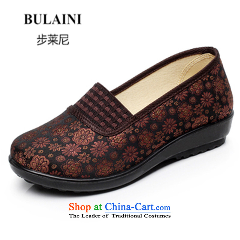 Step-by-step approach of Old Beijing 2015 mesh upper for women through the spring and fall flat with mother shoe soft bottoms of older persons in the womens single embroidered shoes, Grandma shoes classic brown 35 Pin Kit