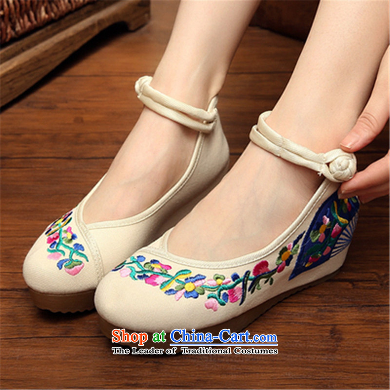 Step-by-step approach of spring and autumn 2015 new old Beijing mesh upper with slope women shoes embroidered shoes of ethnic women with higher within the slope mesh upper womens single shoe m Yellow Convolvulus 36