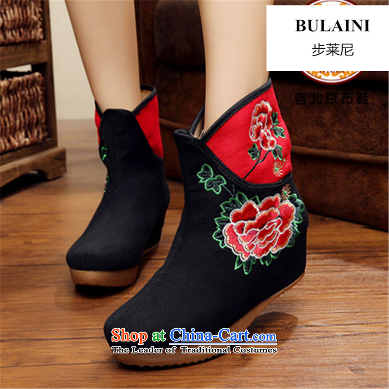 Step-by-step approach of 2015 autumn and winter old Beijing female cloth shoes of ethnic plus lint-free bootie slope behind with the increase in thick boots embroidery and female cotton lint-free cotton swab plus black boots boots 40