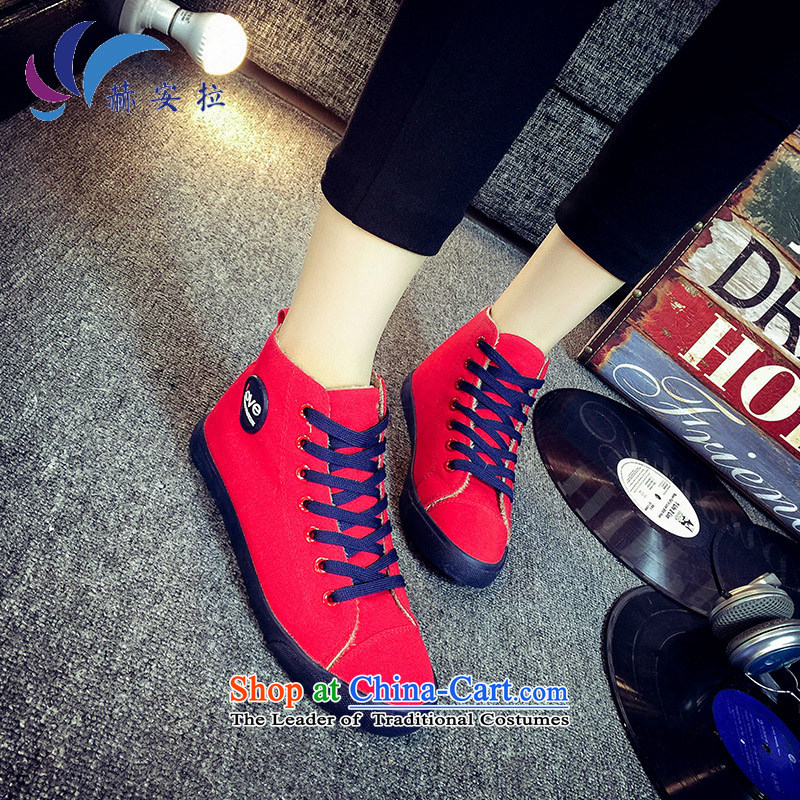 In winter the sheikh lint-free canvas shoes female-female Korea 2015 edition lint-free flat bottom tether leisure shoes, thick slip warm female students shoes shoes Red37
