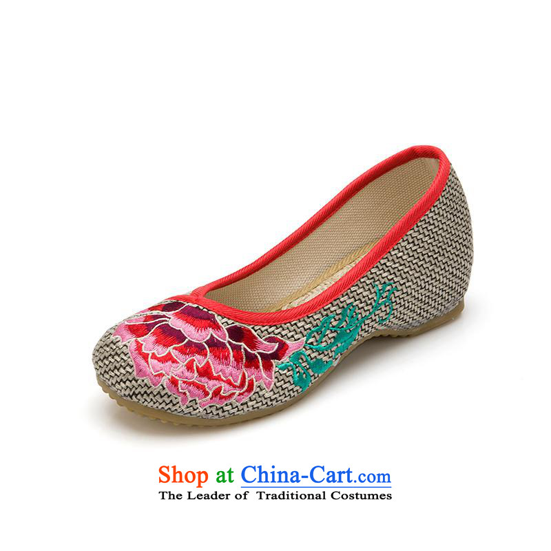 Mesh upper with old Beijing women shoes spring and summer embroidered shoes of ethnic mesh upper inside the slope rising Hibiscus with tray clip women shoes Mudan Gray 39
