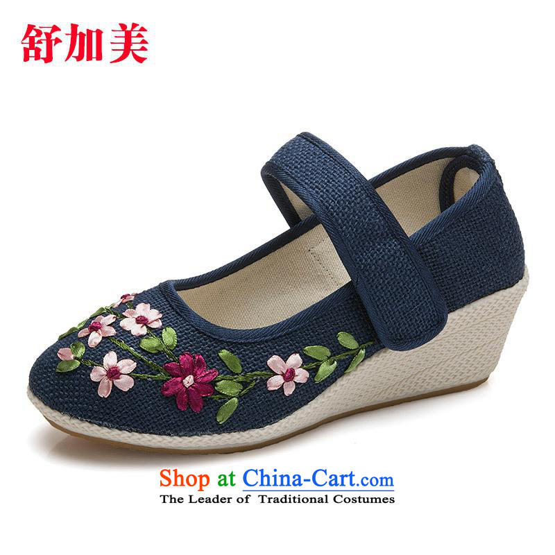 New e-mail package beef tendon at its different from the old Beijing breathable mesh upper with flax manually ribbon embroidered shoes women shoes dance Blue37