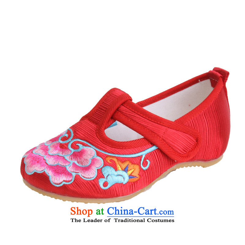 Mesh upper with genuine old beijing children's shoes, Anti-slip increased within stylish single women, children generation single shoe Dance Shoe 5805 Toiletroll Holder Red 16 Codes/inner length of 15CM