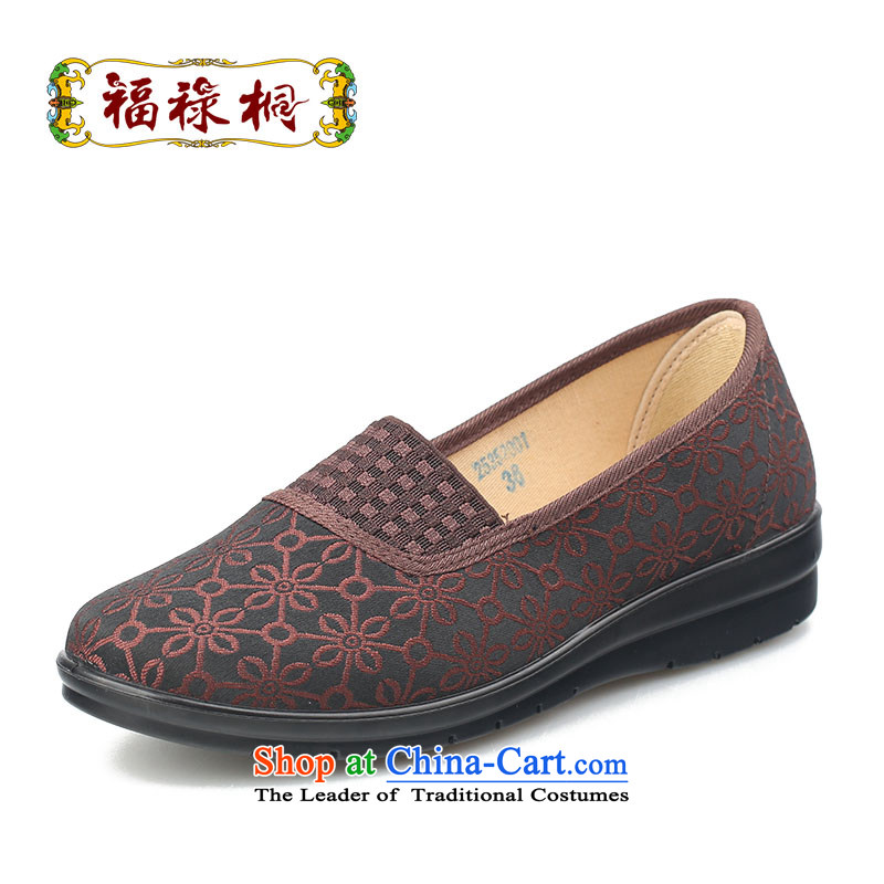 Fu Lu visited the old Beijing mesh upper women shoes autumn break package pin mother shoes comfortable soft ground light port single footwear in the older wear anti-slip shoes 25352001 Brown39