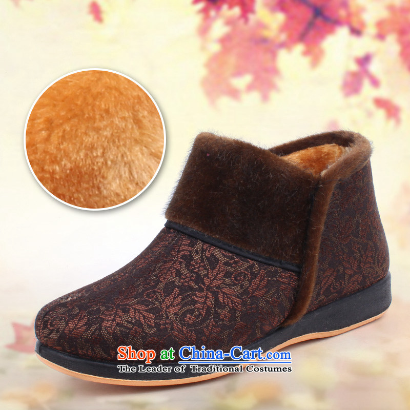 2015 warm winter mother shoe the lint-free cotton and short warm boots the elderly in the comfort women short-pile cotton shoes of Old Beijing mesh upper king pin 715-61 coffee-colored 715-61 36