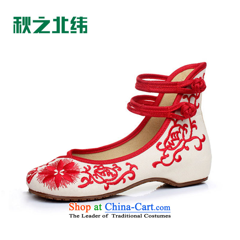 The autumn 2015 new women's shoe embroidered shoes mesh upper retro blue ethnic embroidered shoes LZJ041YZ increased within the Red39