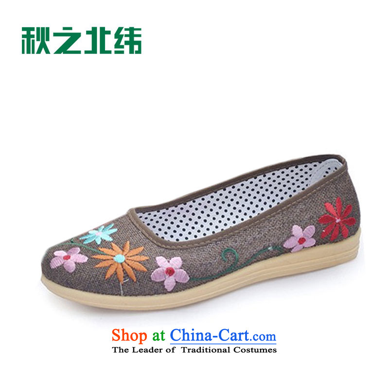 2015 Leisure ethnic embroidered linen-soft bottoms womens single shoe fall new women's shoe embroidered shoes LZJ044YZ mesh upper brown 35