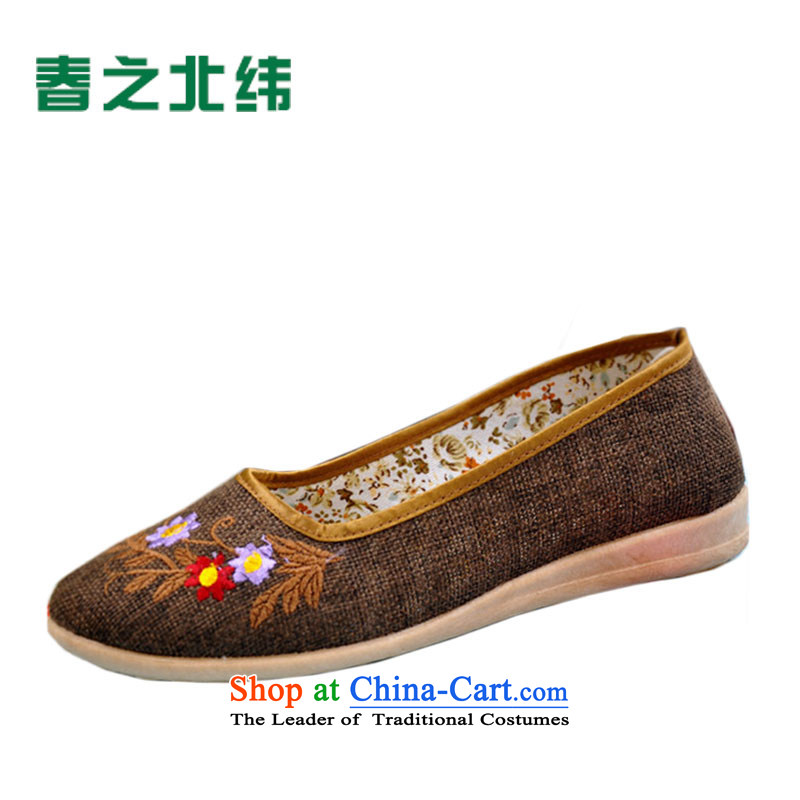 The Commission for the year 2015 mesh upper for women fall new women's shoe embroidered shoes mesh upper breathability and comfort footwear LZJ045YZ embroidered shoes La Mesa - Deep coffee35