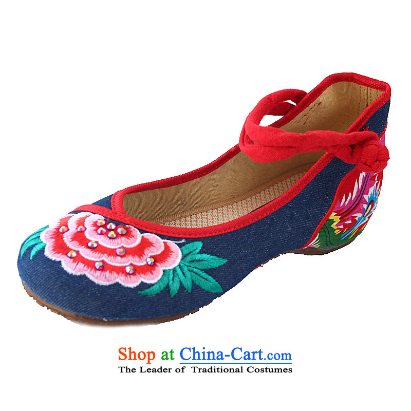 2015 spring and fall within the ethnic increase retro beef tendon bottom clasps to the old Beijing women's shoes mesh upper with thick-embroidered shoes Dancing Blue 40