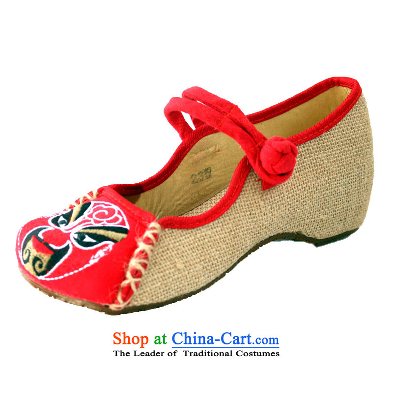 New Old Beijing mesh upper-nationalists masks embroidered shoes women fourth quarter linen embroidery single shoe beef tendon, non-slip increased within women shoes Red 40