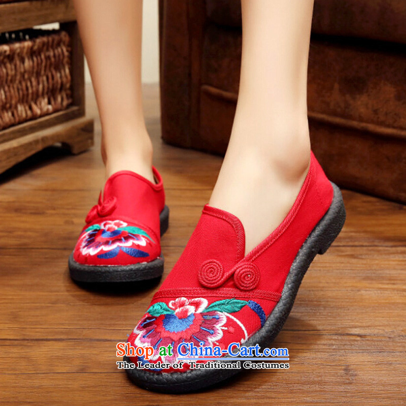 The autumn 2015 new old Beijing women of ethnic retro mesh upper embroidered shoes minimalist set foot flat bottom Ms. leisure shoes single women Red 37