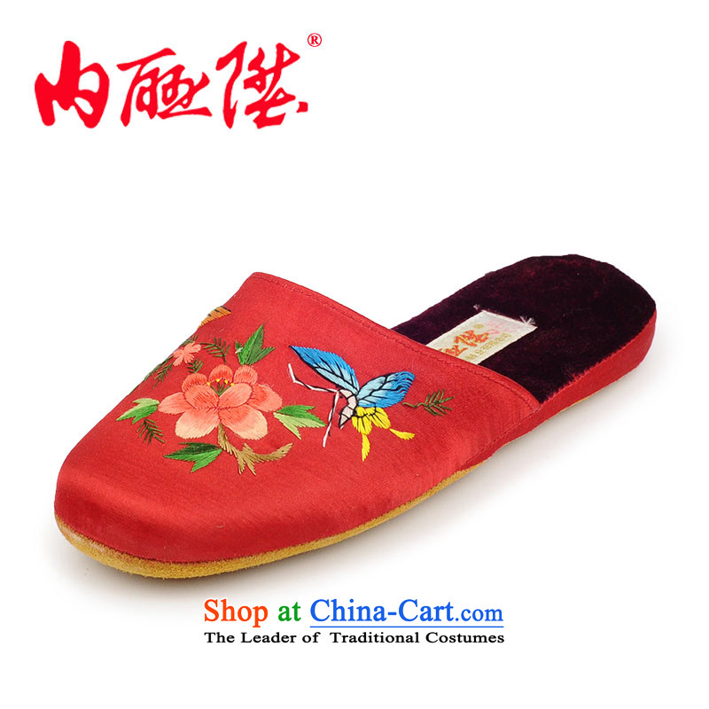 Inline l women shoes slippers autumn and winter stay-gon soft leather bottom satin embroidered 3016C Red Peony 34-35 pass code
