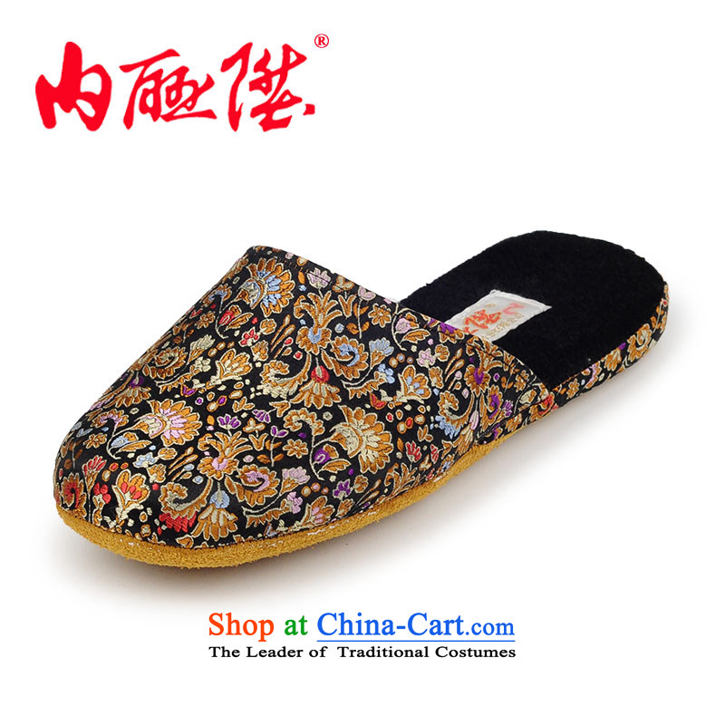 Inline l women shoes female slippers autumn and winter-gon soft leather bottom silk brocade coverlets women shoes female slippers 3023C black聽36-37 pass code