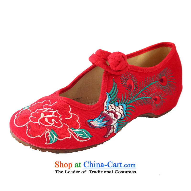 The Spring and Autumn Period and the new Phoenix Peony embroidered shoes increased female single beef tendon bottom mesh upper breathable wear fashionable woman shoes of ethnic hasp women shoes Red 34