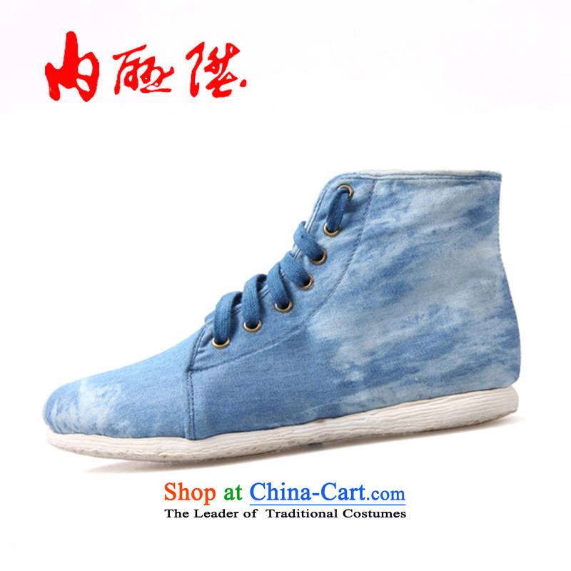 The fall in new product manually bottom thousands of old Beijing mesh upper women shoes bootie8642ABlue38