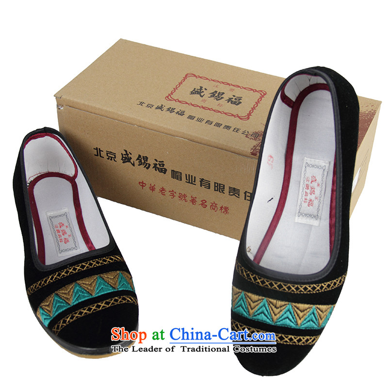 Sheng-fu autumn new Wild, single shoe old Beijing mesh upper ethnic satin embroidered shoes black Lake Blue 39