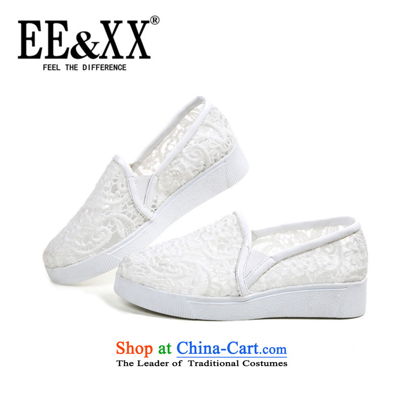 Eexx counters genuine stylish new women's shoes, casual and comfortable shoes cake single engraving thick web single shoe 9987 white shoes 34
