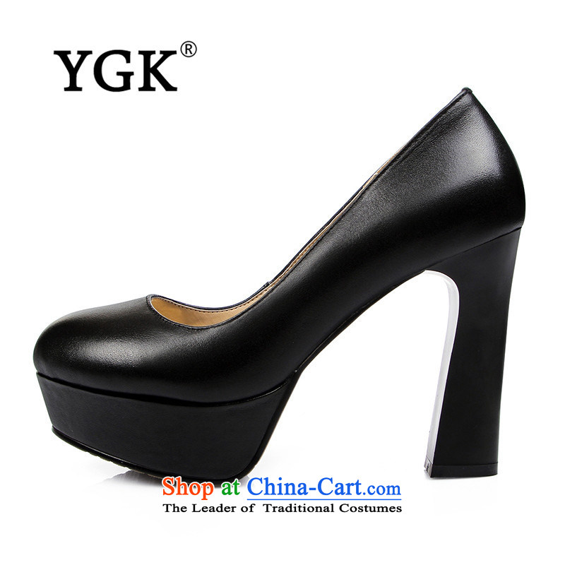 Ygk counters in spring and autumn genuine new women's waterproof Desktop Thick with ultra-high with black leather shoes Occupational 6,241 officers black38