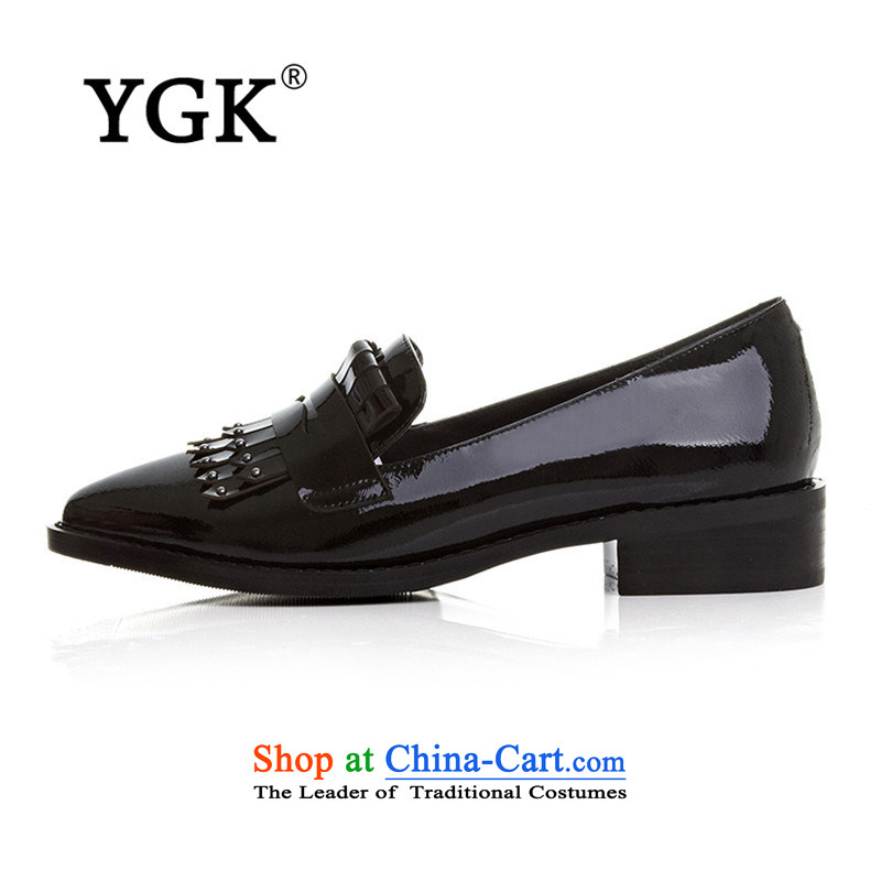 Ygk counters genuine2015 Leisure new stylish light geometry pointed to personalize the women's rough shoes 8649 Black35