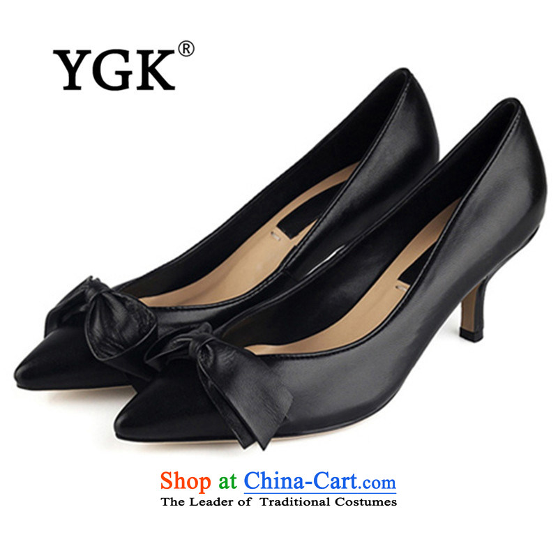 Ygk counters genuine new stylish casual fine point with a bow tie single shoe the the high-heel shoes women shoes 9774 Download Black37