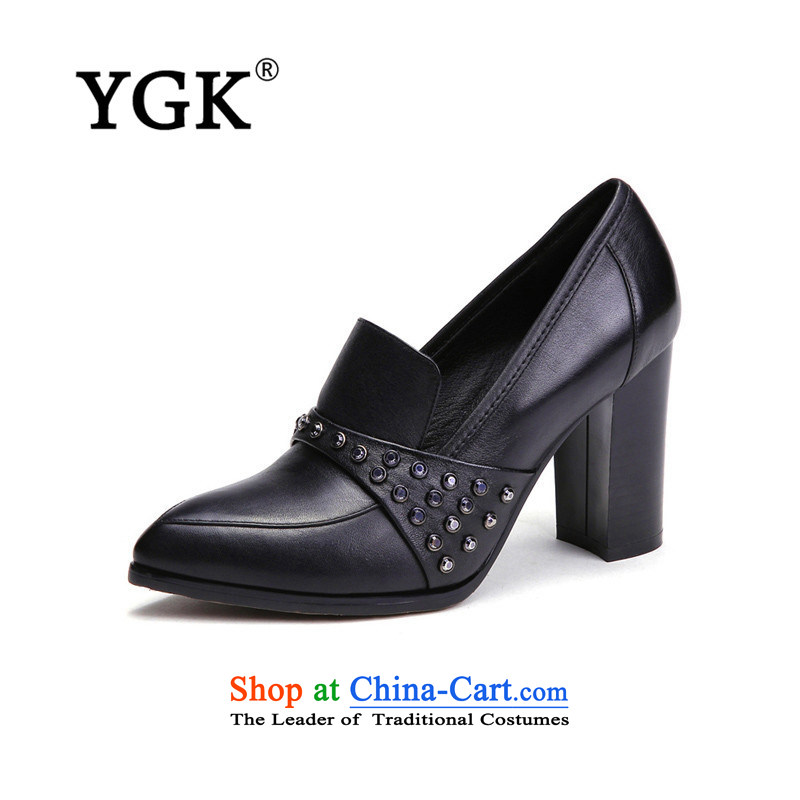 Counters genuine YGK stylish deep single 2015 toe layer cowhide with high-heel points rough water drilling women shoes 9538 Black 36