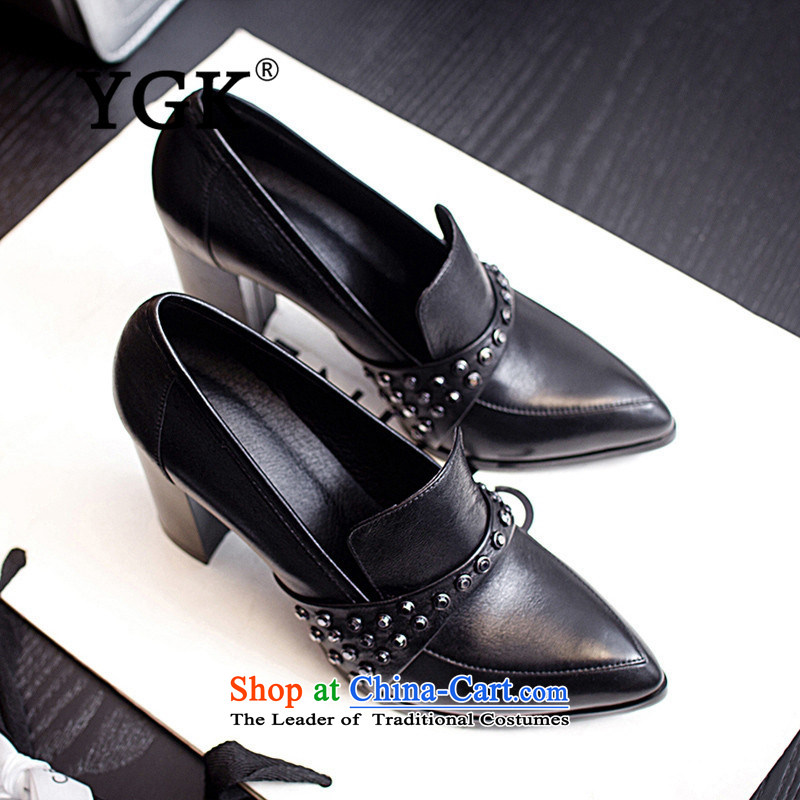 Counters genuine YGK stylish deep single 2015 toe layer cowhide with high-heel points rough water drilling women shoes 9538 Black 36,YGK,,, shopping on the Internet