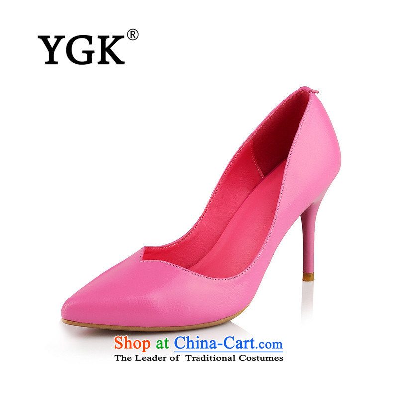 Ygk counters in spring and autumn genuine new high-heel shoes Korean Fine heels Ms. point light port single shoe 1430 light pink35