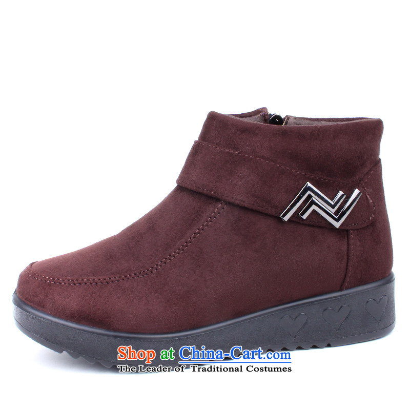 2015 WINTER new president-cotton shoes comfortable plush Short thick boots side zip old Beijing in the elderly mother shoe mesh upper Xh-w152 coffee-coloredXh-w152 36