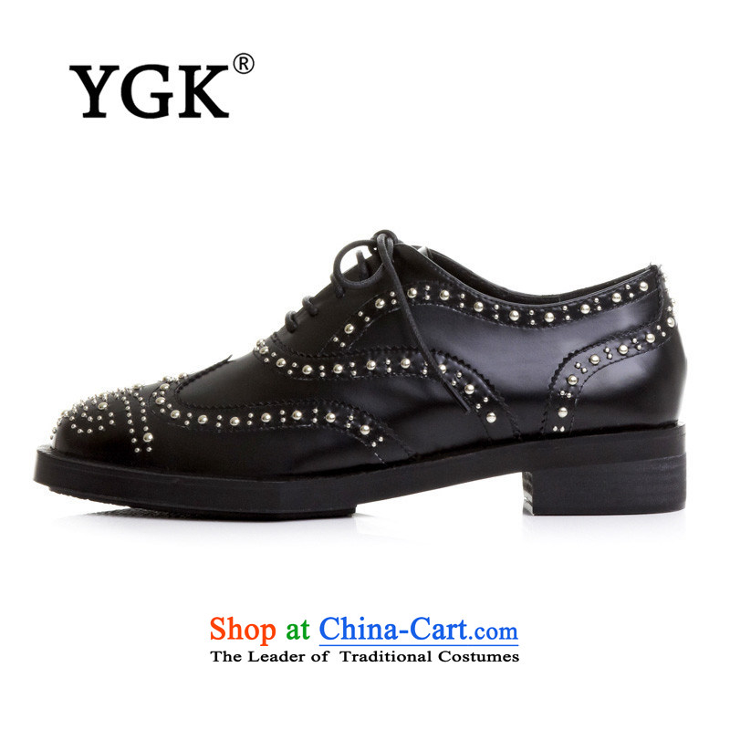 Counters YGK2015 genuine English wind stylish Blok women shoes with low round head single women thick tether womens single shoe 471,453 cars to the black聽38